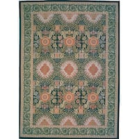 "Pasargad Aubusson Green Hand-Woven Wool Rug (10' 0"" X 14' 0"")"
