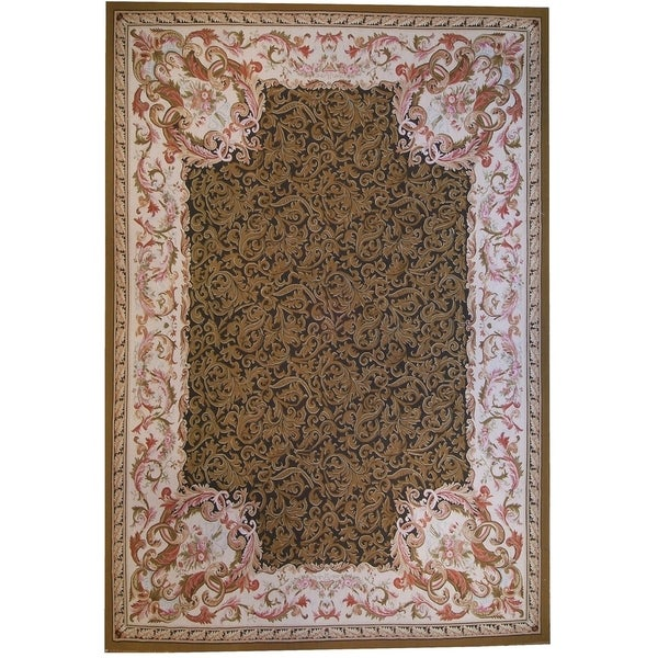 """Aubusson Brown Hand-Woven New Zealand Wool Rug (8' 0"""" X 10' 3"""") - 8' x 10'"""