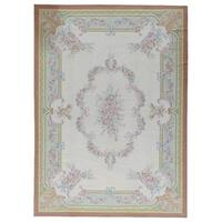 "Aubusson Hand-Woven Ivory New Zealand Wool Area Rug (9'11"" X 13'10"")"