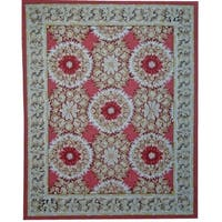 """Aubusson Ivory Hand-Woven New Zealand Wool Rug (8' 0"""" X 10' 1"""")"""