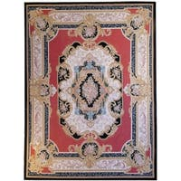 """Aubusson Hand-Woven Red New Zealand Wool Rug (8'10"""" X 12' 0"""")"""
