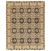 """Pasargad Aubusson Hand-Woven Ivory Wool Area Rug (8' 1"""" X 10' 1"""")"""