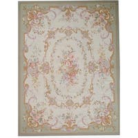 """Pasargad Aubusson Ivory Hand-Woven Wool Area Rug (9' 1"""" X 12' 1"""")"""