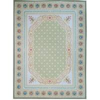 "Pasargad Aubusson Green Hand-Woven Wool Area Rug (7' 9"" X 10' 3"")"