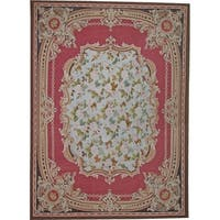 """Aubusson Hand-Woven Red New Zealand Wool Area Rug (9' 0"""" X 12' 3"""")"""