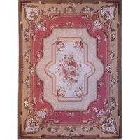 """Pasargad Aubusson Hand-Woven Coral Wool Area Rug (8' 0"""" X 10' 1"""")"""