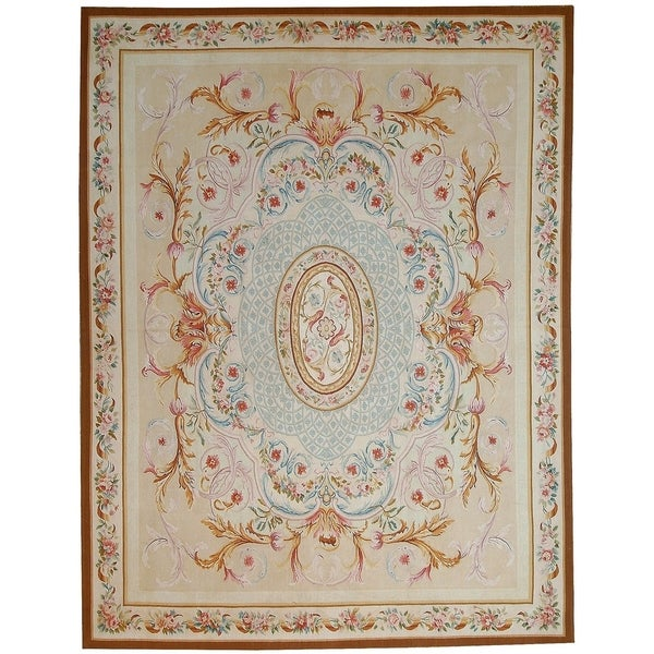 """Aubusson Ivory Hand-Woven New Zealand Wool Area Rug (9' 2"""" X 11'11"""") - 9' x 12'"""