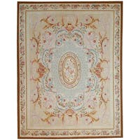 "Aubusson Ivory Hand-Woven New Zealand Wool Area Rug (9' 2"" X 11'11"")"