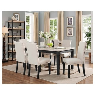 Picket House Furnishings Bradley 7PC Dining Set Table U0026 6 Upholstered Side  Chairs