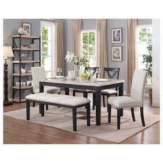 Picket House Furnishings Bradley 6PC Dining Set-Table, 2 Upholstered Side Chairs, 2 X-Back Side Chairs & Bench