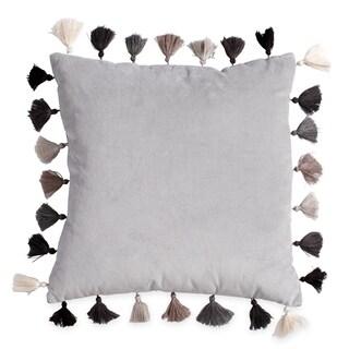 Scrbble Velvet Tasseled 16-Inch Square Decorative Throw Pillow