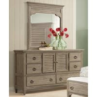 Roubai Contemporary Grey Finish 2-Door 6 Drawer Dresser with Mirror