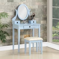 Moniys Wood Moniya Makeup Vanity Table and Stool Set