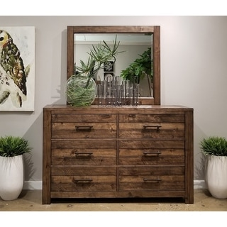 Dajono Rustic Brown Finish Pine Wood 6-drawer Dresser with Mirror