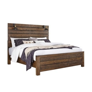 Dajono Rustic Brown Finish Pine Wood Bed with Reading Lamps