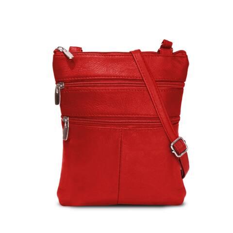 AFONiE Flat Two Sides Leather Crossbody Handbag