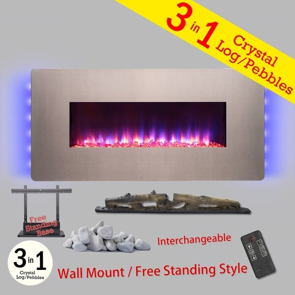 "Golden Vantage FP0067 3-in-1 36"" Electric Fireplace Wall Mount Freestanding Convertible Firebox 3D Flame Heater"