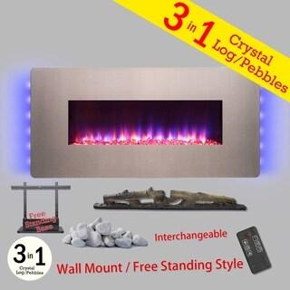 "Golden Vantage FP0067 3-in-1 36"" Electric Fireplace Wall Mount Freestanding Convertible Firebox 3D Flame Heater"