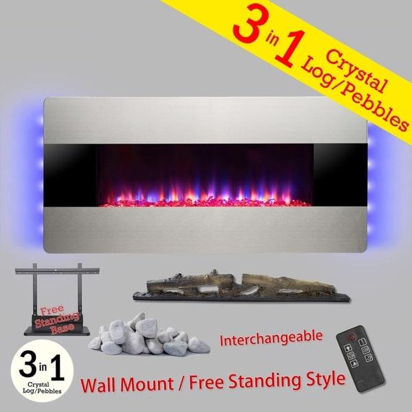"Golden Vantage FP0068 3-in-1 36"" Electric Fireplace Wall Mount Freestanding Convertible Firebox 3D Flame Heater"