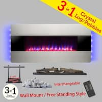 "Golden Vantage FP0068 3-in-1 36"" Electric Fireplace Wall Mount Freestanding Convertible Firebox 3D Flame Heater"