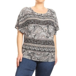 Women's Plus Size Mixed Paisley Top