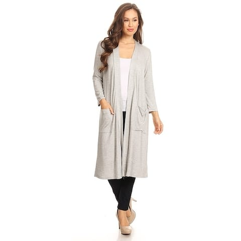 Women's Solid Knit Long Body Cardigan