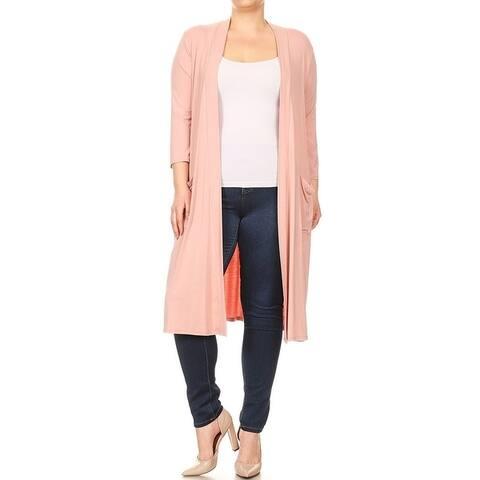 Women's Plus Size Solid Long Body Cardigan