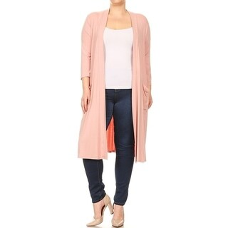 Women's Plus Size Solid Long Body Cardigan