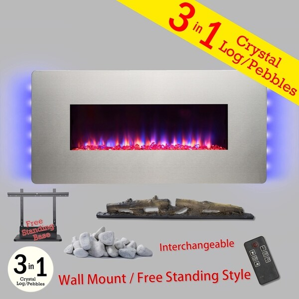 """Golden Vantage FP0071 3-n-1 48"""" Stainless Steel Freestanding Electric Fireplace Remote Interchangeable Logs Heater"""