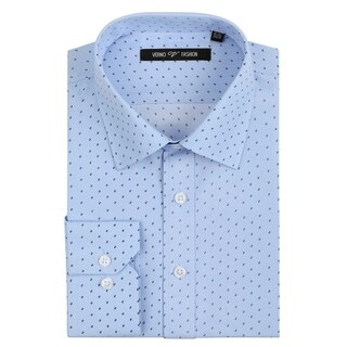 Verno Men's Microfiber Print Slim Fit Long Sleeve Blue Dress Shirt