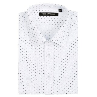 Verno Men's Microfiber Print Slim Fit Long Sleeve White Dress Shirt