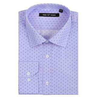 Verno Men's Microfiber Print Slim Fit Long Sleeve Lavender Shirt