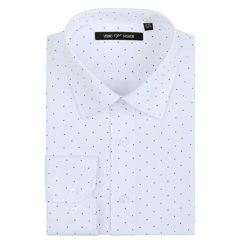 Verno Men's Printed Polk-a-Dot Classic Fit Long Sleeve White Shirt