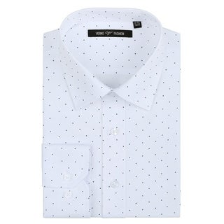 Verno Men's Printed Polk-a-Dot Classic Fit Long Sleeve White Shirt