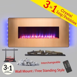 "Golden Vantage FP0074 48"" Wall Mount Freestanding Electric Fireplace Remote 3D Flames Logs Pebbles Heater"