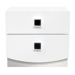 Best Master Furniture France Glossy White 2-drawer Nightstand