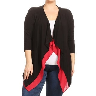 Women's Plus Size Solid Cardigan with Contrast Lining