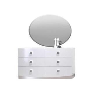Best Master Furniture White Wood 6-drawer Dresser and Mirror