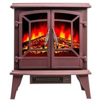 "Golden Vantage FP0077 20"" Electric Fireplace Portable Freestanding Brown Firebox 3D Flame w/ Logs Heater"
