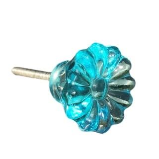 Turquoise Sunflower Glass Knob, Cabinet Pull, Dresser Knob, Drawer Pull