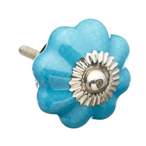 Turquoise Ceramic Cabinet Knobs - Set of 6