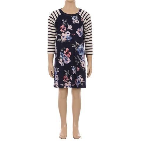 Children's Floral Striped Sleeve Dress