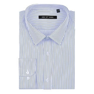 Verno Men's Lt. Blue and White Striped Long Sleeve Classic Fit Shirt