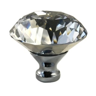 "Crystal Clear Large 2"" Wide Glass Round Knob, Drawer Pull, Cabinet Pull, Dresser Drawer Pull"