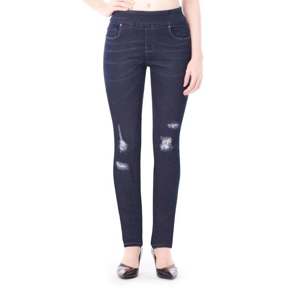 Bluberry Women's Maggie Blue Denim Distressed Slim-fit Pants