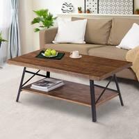 Sleeplanner Rustic Wood Coffee Table, Cocktail Table, Steel Legs & Natural Wood Top