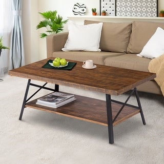 Sleeplanner Rustic Cocktail Table/ Coffee Table, Steel Legs&Natural Wood Top, Brown