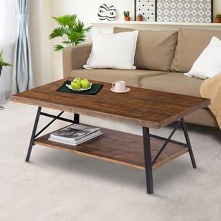 Sleeplanner Rustic Natural Wood Steel Legs Coffee Table