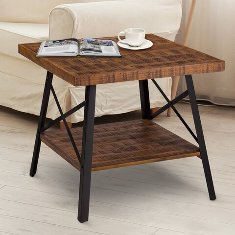 Sleeplanner Rustic End Table, Steel Legs&Natural Wood Top, Brown