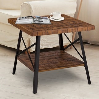 Sleeplanner Rustic End Table, Steel Legs&Natural Wood Top, Brown